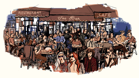 typical: Customers at traditional outdoor Parisian cafe - Vector illustration