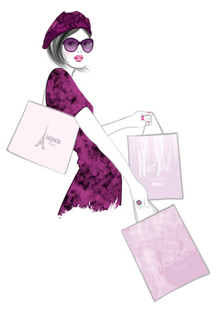 woman holding money: Pretty Woman shopping in Paris - vector illustration