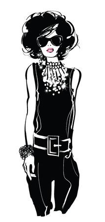 Fashion woman model in black suit - vector illustration Illustration