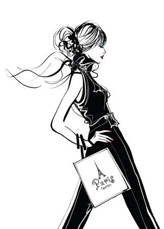 파리에서 예쁜 여자 쇼핑 - 벡터 일러스트 레이 션