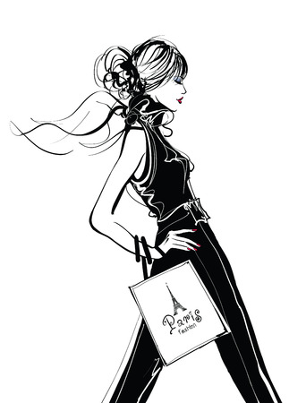 fashion illustration: Pretty Woman shopping in Paris - vector illustration