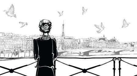 pont: Seine river from Pont des arts in Paris - vector illustration Illustration