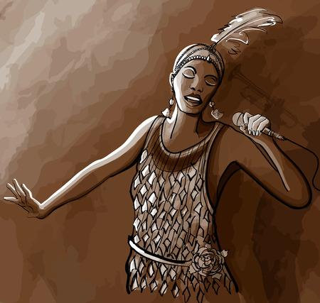 afro american: Afro american jazz singer - vector illustration Illustration