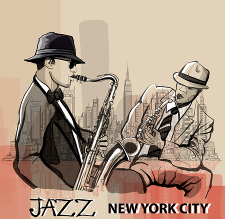 tenor: Two Jazz saxophonist playing in New York - vector illustration
