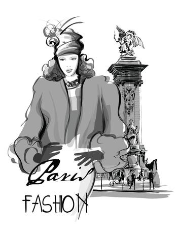 lampposts: woman walking on Alexandre III Bridge in Paris France - vector illustration