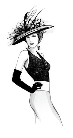 Modèle de mode avec chapeau - illustration vectorielle