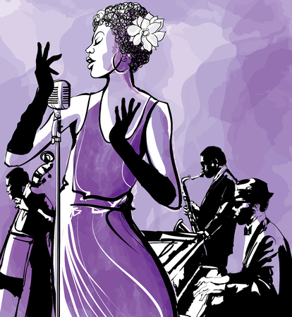 Jazz singer with saxophone, double bass and piano - Vector illustration