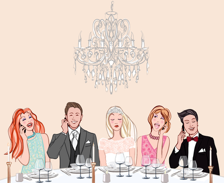 Cell phone abuse in a wedding ceremony - vector illustration