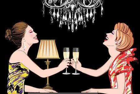 Dos mujeres felices jóvenes con copas de champaña en un club nocturno - ilustración vectorial