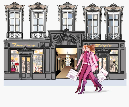 Two young fashionable women shopping - vector illustration 일러스트