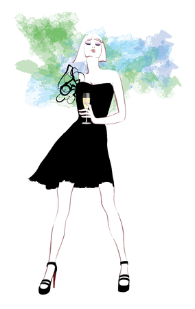 Woman in evening dress with glass of champagne - vector illustration Illustration