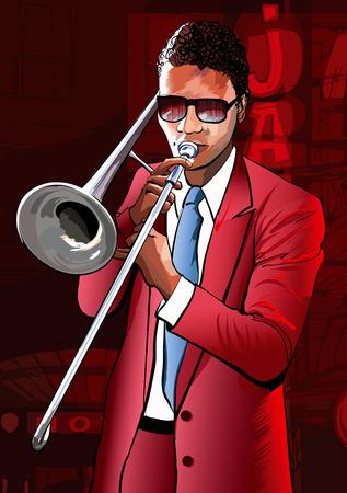 trombone: Jazz trombone player Illustration