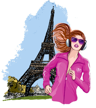 blonde females: Pretty blonde woman jogging in paris - vector illustration
