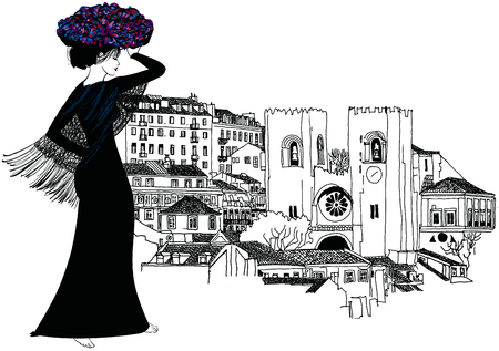 Portuguese woman with a basket of flower on her head - vector illustration