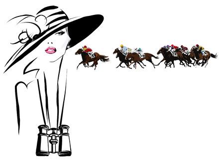 kapelusze: Kobieta w tor wyścigowy koń z lornetki - ilustracji wektorowych