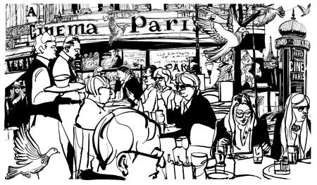 I clienti a tradizionale caffè parigino all'aperto - illustrazione vettoriale