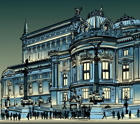academy: Paris, opera Garnier at night -  illustration