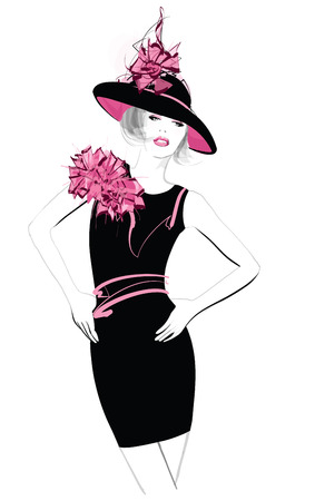 Fashion woman model with a black hat - vector illustration Çizim