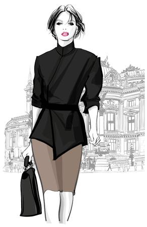 오페라, 파리의 앞에서 걷고 비즈니스 여자 - 벡터 일러스트 레이 션
