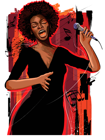 Music Jazz - afro american jazz singer on grunge background - vector illustration