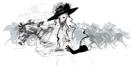 femme dessin: Femme dans un champ de courses de chevaux - illustration vectorielle