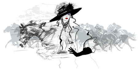 Frau in einem Pferderennbahn - Vektor-Illustration Illustration