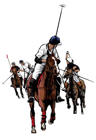 Polo Sport Player on horseback - Vector Illustration
