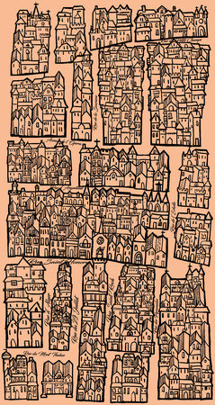 middle ages: Imaginary old map inspired by the old Middle ages ones, nice for original wrapping paper - vector illustration