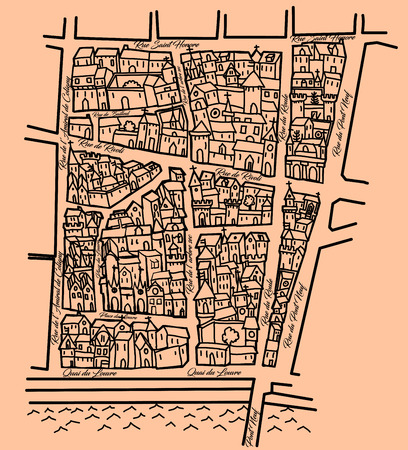 middle ages: Imaginary old map inspired by the old Middle ages ones, nice for original wrapping paper, Saint Honore district in Paris - vector illustration Illustration