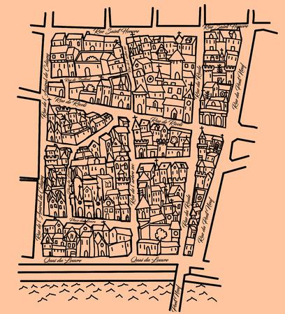 edad media: Viejo mapa imaginario inspirado en los viejos Edad Media queridos, agradable para el papel de embalaje original, distrito de Saint Honoré en París - ilustración vectorial