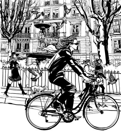 parisian: Riding bicycle in Paris - vector illustration