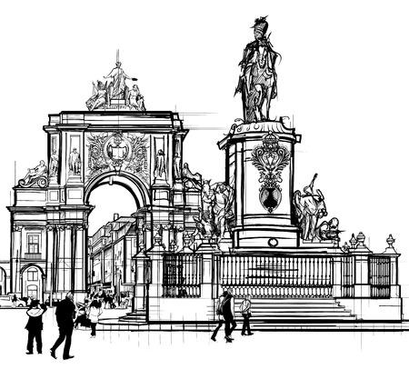 포르투갈, 리스본 상거래 광장 - 벡터 일러스트