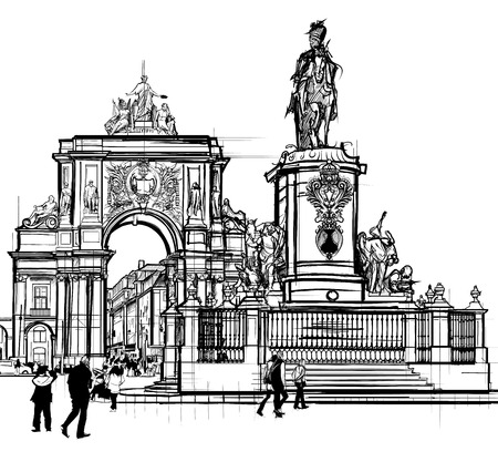 Portugal, Lisbonne Place du Commerce - illustration vectorielle