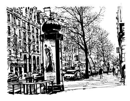 boulevard: Boulevard in Paris - vector illustration Illustration