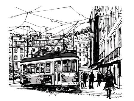 tramway: Tramway in lisbon - vector illustration