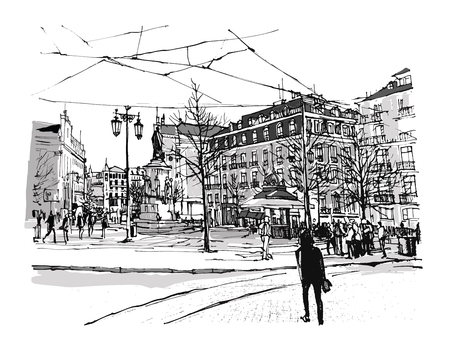 chiado: Portugal, Lisbon Chiado square - vector illustration Illustration