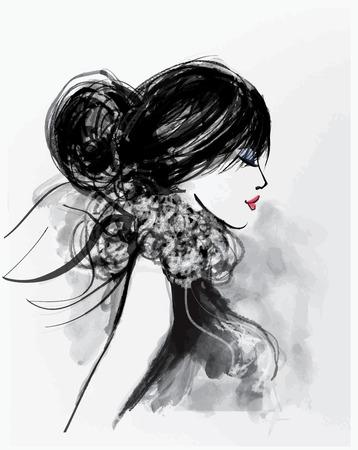 elegant woman: Fashion woman model with a scarf - vector illustration
