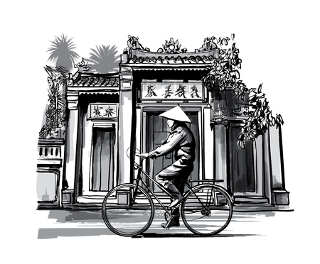 Vietnamese with conical hat on bicycle - vector illustration