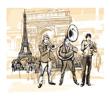 brass: Musicians in front of Eiffel tower in Paris - vector illustration Illustration