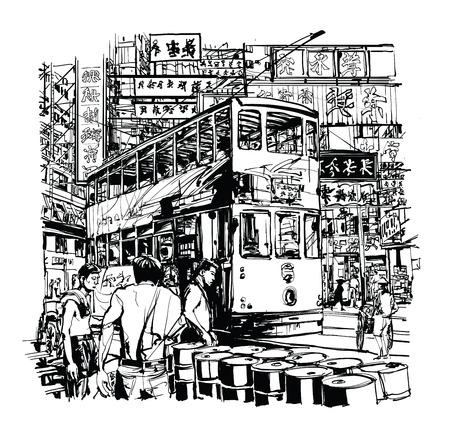 香港トラム通り - ベクトル図