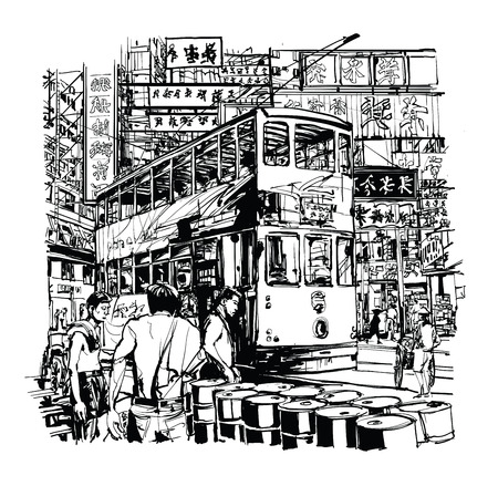 hong kong: Hong Kong, tram on the street - vector illustration
