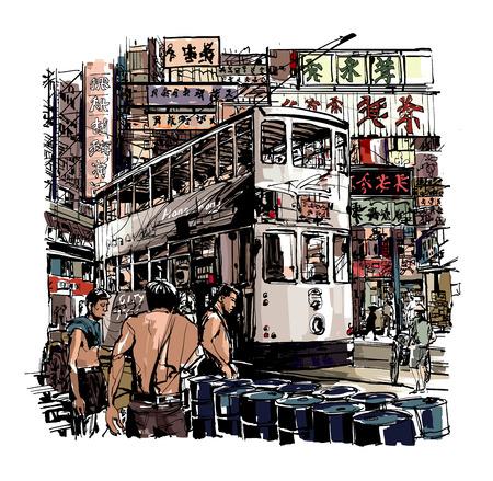bocetos de personas: Hong Kong, el tranvía en la calle - ilustración vectorial