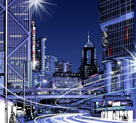 Vue de nuit de Hong Kong - illustration vectorielle Vecteurs