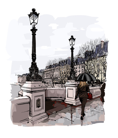 pont: France - Paris, Pont Neuf under the rain - vector illustration