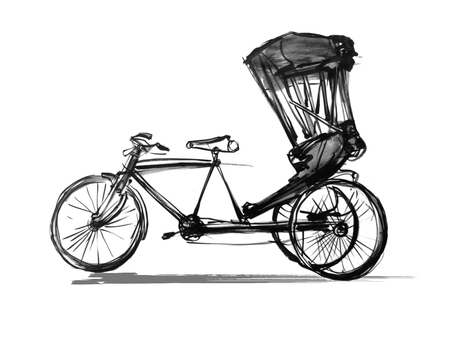 Indian rickshaw cycle - vector illustration Illustration