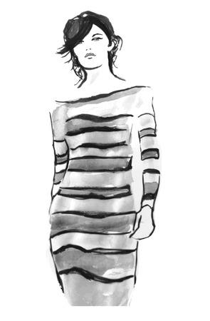 defile: Model on catwalk - vector illustration