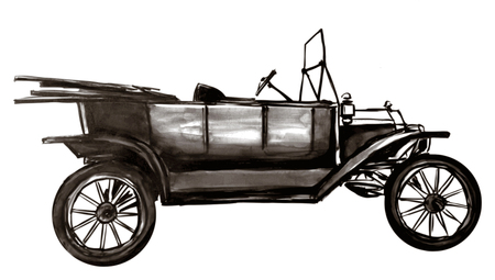 Very old car - vector illustration