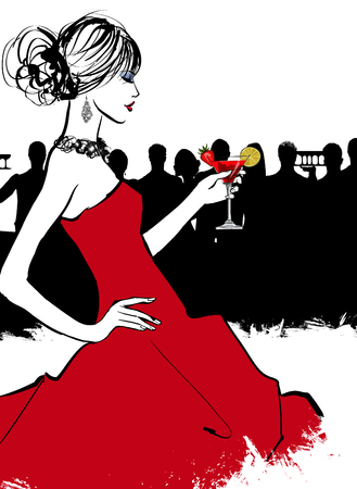 Young woman in a bar enjoying the cocktail party - vector illustration Stock Illustratie