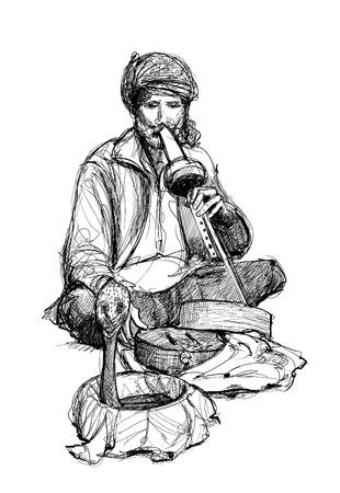 Indian snake charmer - vector illustration