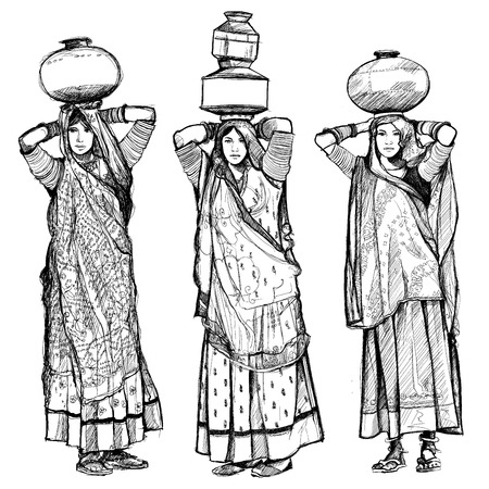 India, women carrying jars on their head - vector illustration